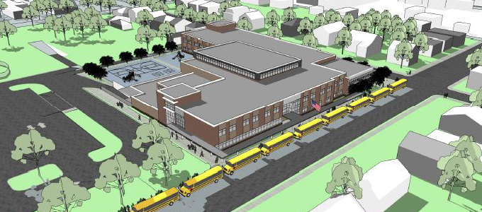 Rendering of New Elementary School at Gramby & Hazel Streets